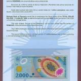 Bacnota 2000 lei cu eclipsa in folder BNR