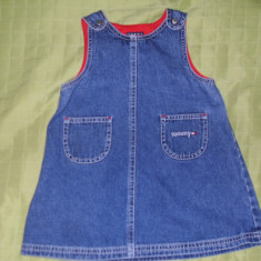 Tommy Hilfiger rochita blugi 100 % bumbac pentru fetite import USA varsta 12--18 luni, Culoare: Albastru