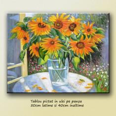 Buna dimineata - tablou floarea soarelui - ulei pe panza 50x40cm LIVRARE GRATUITA 24-48h - Tablou autor neidentificat, Altul