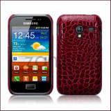 Husa Samsung Galaxy Ace Plus S7500 Carcasa rosie - Husa Telefon Samsung, Rosu, Piele Ecologica, Fara snur