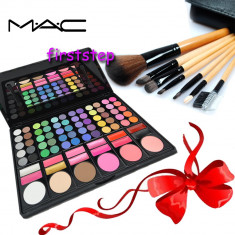 Trusa make up - Trusa machiaj profesionala 78 culori MAC + set 7 pensule make-up cu borseta