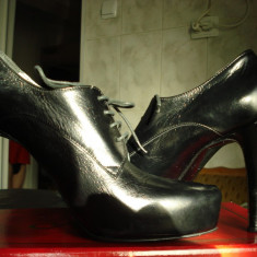 Pantofi dama, Marime: 38, Negru - Pantofi piele 100% fabricati italia eleganti