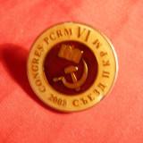 Insigna Congres VI al PCRM - Moldova 2008, metal si email, d= 2, 7 cm