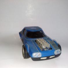 Jucarie de colectie - Masinuta chinezeasca de curse din plastic, motoras cu frictiune, anii '80