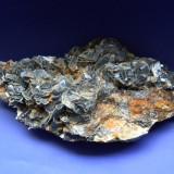 Fosila roca - Specimen minerale - CALCITA NEAGRA CU INCLUZIUNE DE JEMSONIT, SIDERIT SI LIMONIT