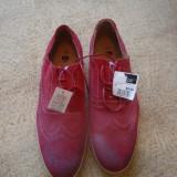 Pantofi piele intoarsa culoare rosie - Pantofi barbati, Marime: 43, Culoare: Rosu, Piele naturala, Rosu
