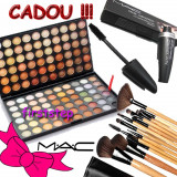 Trusa machiaj profesionala MAC 120 culori + set 15 pensule make up + RIMEL MAC - Trusa make up