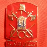 Medalie- Pompieri - araba, metal si email . h=4, 5 cm