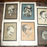 Grafica- 10 Caricaturi semnate A.Dragos 1930, Ed. Socec : Iorga, Maniu, Goga, Duca, etc - Pictor roman