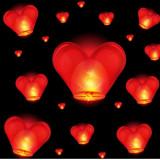 Lampioane zburatoare inimioara / Lampion zburator  forma de inima set 100 bucati