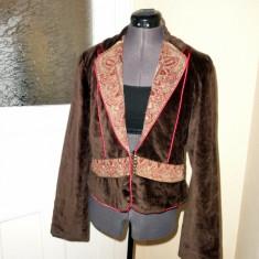 Jacheta de primavara de catifea cu aplicatii, marca Derhy, masura L - Jacheta dama, Marime: L
