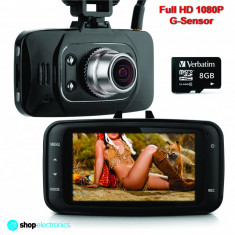 Camera Video DVR Auto, Full HD 1080P + Card 8GB, Night Vision, Senzor Miscare - Camera video auto