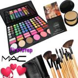 Trusa machiaj farduri fard ruj blush 78 culori nuante MAC NATURAL + 15 pensule make up Bobbi Brown + Pudra Studio Fix MAC dubla - Trusa make up