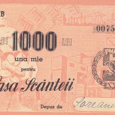 Chitanta de contributie la constructia Casei Scanteii 1.000 Lei - Cambie si Cec