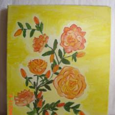 Tablou-trandafiri roz pe fond galben, Altul, Altul