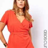 TOP Asos Curve Fluted Sleeves Tomato RED  24UK/52eur size