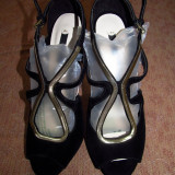 Sandale Zara noi, din catifea - Sandale dama Zara, Marime: 39, Negru