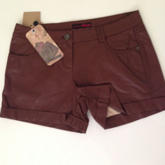 Pantaloni scurti dama TOM TAILOR imitatie piele - leather look - maro - Pantaloni dama Tom Tailor, Marime: 28, Poliester