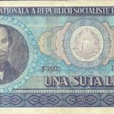 ROMANIA- 100 LEI 1966- seria F0207- 124193
