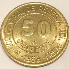 S1. PERU 50 CENTIMOS 1988, 5.20 g., Brass, 23 mm, General Grau XF / AUNC **, America Centrala si de Sud, An: 1988