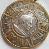 Spectaculos si Vechi Medalion Religios Papal Masiv si Impunator Lucrat Manual in Detalii Superbe si avand o patina Minunata