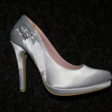 Pantofi dama, Marime: 35, Textil, Argintiu - Pantofi argintii superbi noi, nepurtati