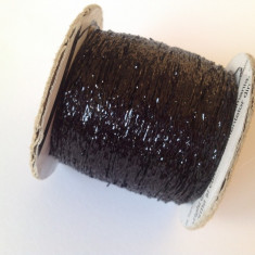 Ata - Fir de tricotat sau crosetat, Fir de tip lame, negru, metalic, stralucitor ( lurex )