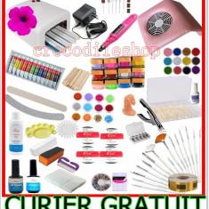 KIT SET Unghii false BeautyUkCosmetics GEL 12 COLOR, MANICHIURA, LAMPA UV, PILA ELECTRICA, ASPIRATOR