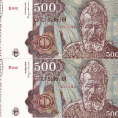 Bancnote Romanesti, An: 1991 - ROMANIA lot 2 buc. X 500 lei ianuarie 1991 UNC!!!