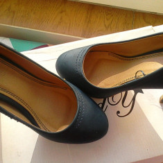Pantofi de dama cu toc si platforma - Pantofi dama, Albastru