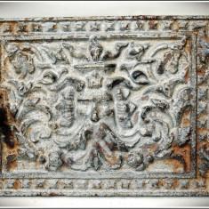 Metal/Fonta - UȘĂ VECHE DE LA UN CUPTOR DE FONTĂ, STIL BAROC, FAUN / CAP-DE-SATIR, ANII 1900!