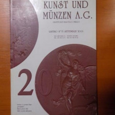CATALOG DE MONEDE SI DECORATII PENTRU LICITATII, KUNST UND MUNZEN A. G., 2001 - Carte Istoria artei