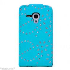 Husa Samsung Galaxy S3 MINI diamante SWAROVSKI albastra - folie ecran gratis - Husa Telefon Samsung, Albastru, Piele Ecologica, Cu clapeta