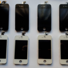Pachet LCD + Capac Spate Alb si Negru iPhone 4 Noi + baterie acumulator Apple