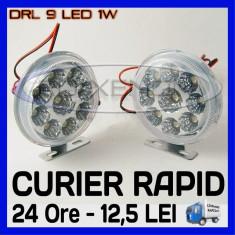 DRL 9-LED 1W - ROTUND DIAMETRU 86mm - DAYTIME RUNNING LIGHT - Lumini de zi ZDM, Universal