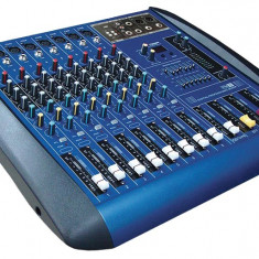 MIXER AUDIO PROFESIONAL AMPLIFICAT, PUTERE 760 WATT, EGALIZATOR, 4 IESIRI, MP3 PLAYER STICK USB.