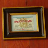 Rama din lemn cu sticla - Eticheta originala din perioada comunista - Bere Basarab !!!