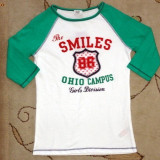 Haine Copii 7 - 9 ani, Bluze, Fete - Nou! Bluza practica alb-verde, marca FF, fete 7-8 ani
