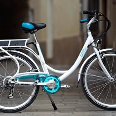Bicicleta electrice, 22 inch, 26 inch, Numar viteze: 7, Otel, Alb-Albastru - Btwin bicicleta electrica