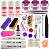 Kit Unghii False cu Pudra Acrilica #02 Pensule Acryl Lichid Acrilic kit acryl