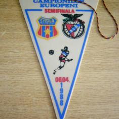 Fanion fotbal - MCF - FANION - STEAUA BUCURESTI - BENFICA LISABONA - CCE - 06 APRILIE 1988