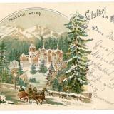 2566 - L i t h o, Prahova, SINAIA, winter, PELES tower - old PC - used - 1899 - Carte Postala Muntenia pana la 1904, Circulata