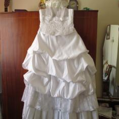 ROCHIE MIREASA marimea 48 - OFERTA! (cu: VOAL, MANUSI, COS FLORI si POSETA)!!! - Rochie de mireasa printesa