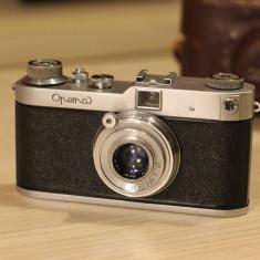 Aparat Foto cu Film Leica, RF (Rangefinder), Mediu - Aparat Foto Rangefinder Meopta, Opema II cu obiectiv 45 mm/2.8 Belar Leica Mount