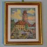"""Tablou, Peisaje - Hans Hermann, """"Turnul Sfatului din Sibiu"""", hartie"""