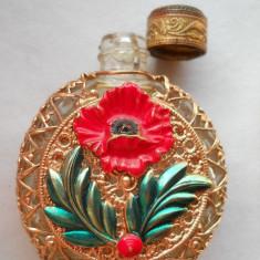 Superba si Veche Sticluta de Parfum de poseta Franta Vintage imbracata manual - Sticla de parfum