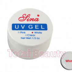 Gel unghii - Gel Constructie Unghii UV Sina 15 ml White French - Gel UV Alb