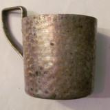 CY - Suport vechi, pentru pahar, frumos, din alama argintata - Metal/Fonta, Vase