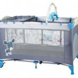 Patut pliant cu 2 nivele SleepWell 120 x 60 cm Blue BabyGo