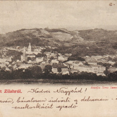 Romania, Zilah, Zalau carte postala circulata 1901: Panorama - Carte Postala Crisana pana la 1904, Fotografie